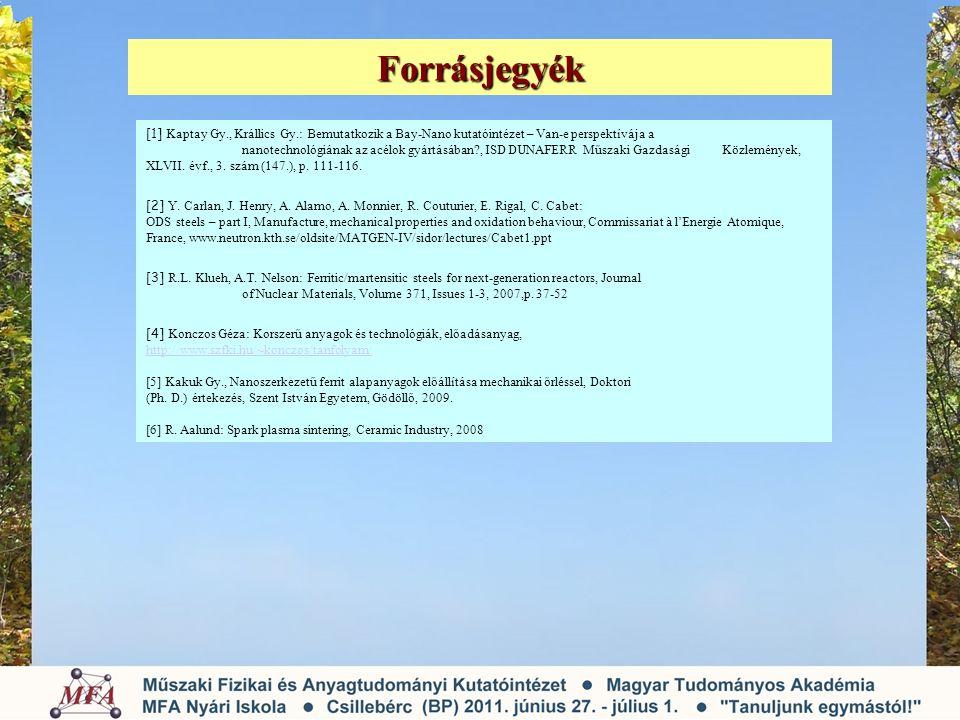 Forrásjegyék [1] Kaptay Gy., Krállics Gy.: Bemutatkozik a Bay-Nano kutatóintézet – Van-e perspektívája a.